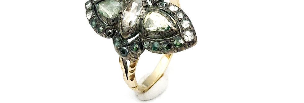 14 krt. Geelgouden ring volgezet met diamanten oud slijpsel