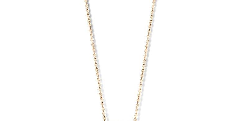 14 krt. Geelgouden collier met lichtblauwe topaas