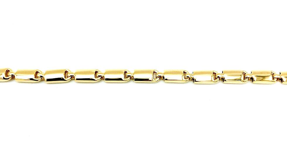 14 krt. Geelgouden collier met halfbolle glanzende staafjes