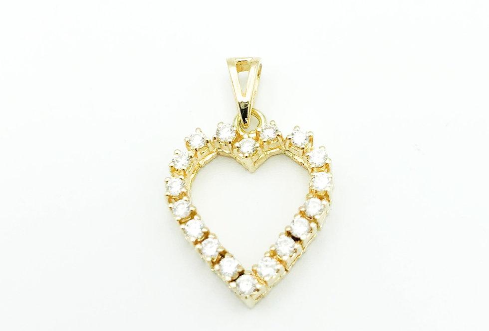 14 krt. Geelgouden hart hanger rondom gezet met 18 diamanten