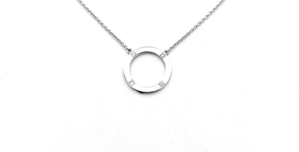14krt. Witgouden collier met ronde hanger en 4 briljant geslepen diamanten