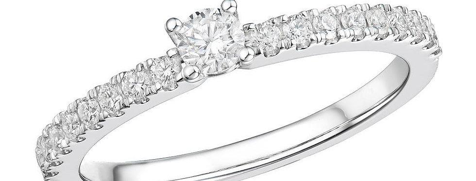 18 krt. witgouden ring met 0,51 crt. aan diamant