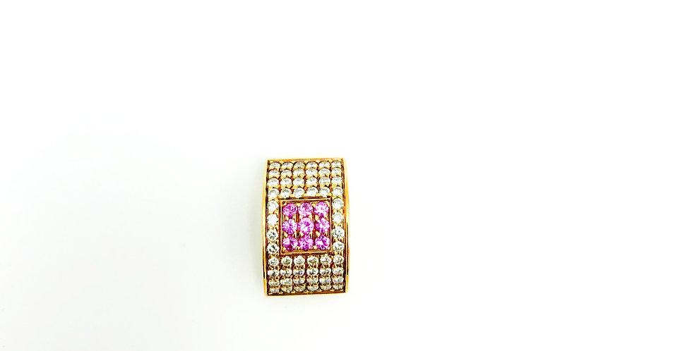 18 krt. Geelgouden hanger met diamant en rose saffier