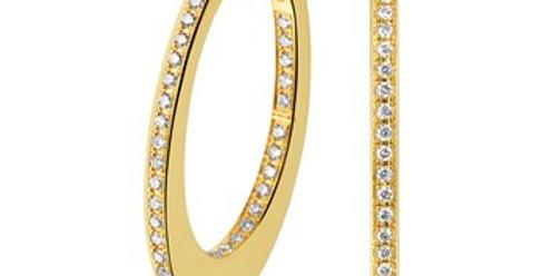 14 krt. Geelgouden ovale creolen met diamant 22mm