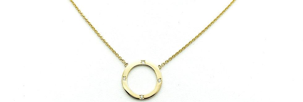 14 krt. Geelgouden collier met ronde hanger en 4 briljant geslepen diamanten