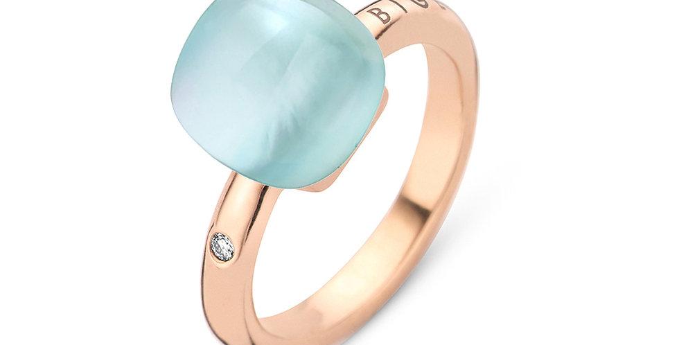 Bigli Mini Sweety ring met Turqoois, bergkristal en parelmoer
