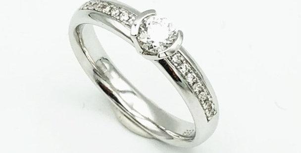 14 krt. Witgouden ring met mooie grote middensteen briljant en in band briljant