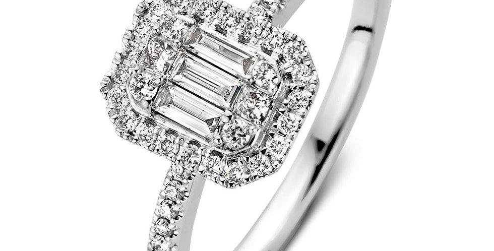 14 krt. witgouden vierkanten damesring met 6 baquette geslepen diamanten