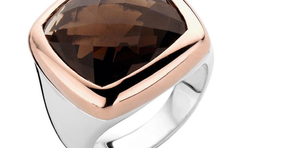 18 krt.Rosegouden ring met zilver en rookkwarts