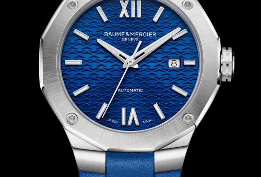 Baume et Mercier Riviera edelstalen herenhorloge automaat met rubberen band