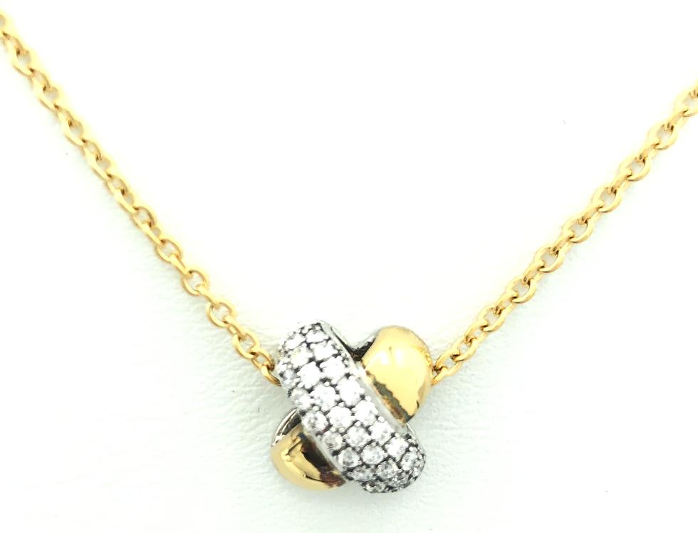 18 krt. Geelgouden collier en hanger met zilver en diamanten