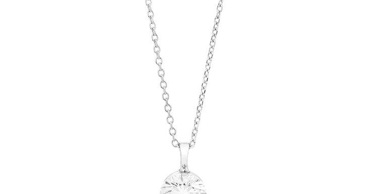18 krt. Witgouden collier met briljant geslepen diamant 0,43crt.