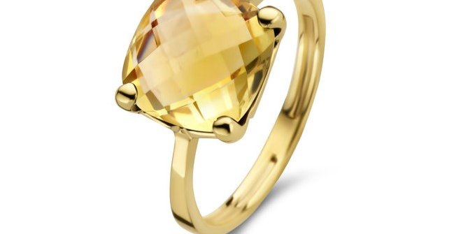 14 krt. Geelgouden ring met lichtgele lemonkwarts