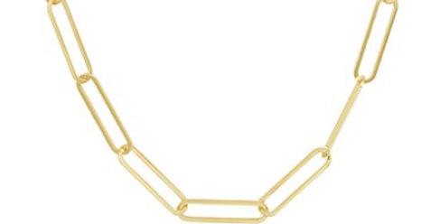 14 krt. Geelgouden Paperclip collier 45cm