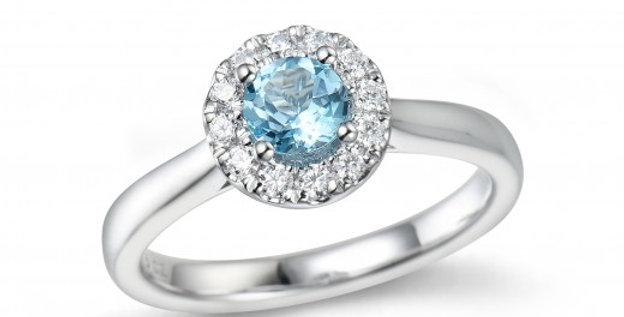 Witgouden Rozet Ring met Topaas