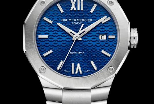 Baume et Mercier Riviera edelstalen herenhorloge automaat met blauwe wijzerplaat