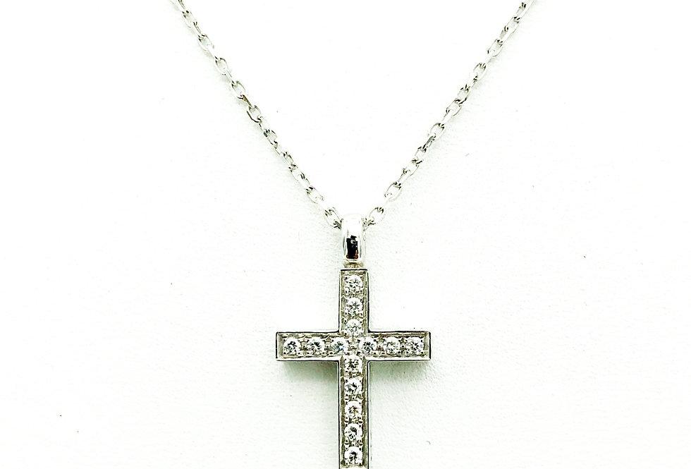 18 krt. Witgouden hanger in de vorm van een kruis met diamant