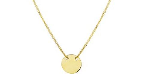 14 krt. Geelgoud collier met vlak rond plaatje
