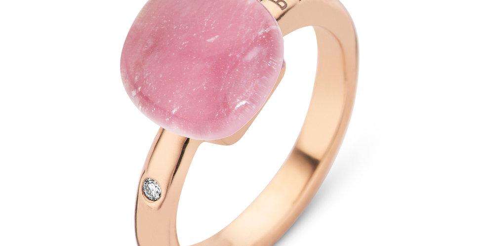 Bigli Mini Sweety Ring met bergkristal en robijn