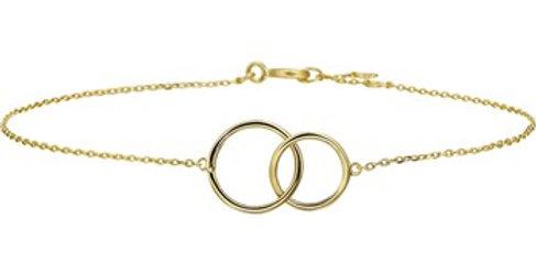 14 krt. Geelgouden armband met 2 open cirkels