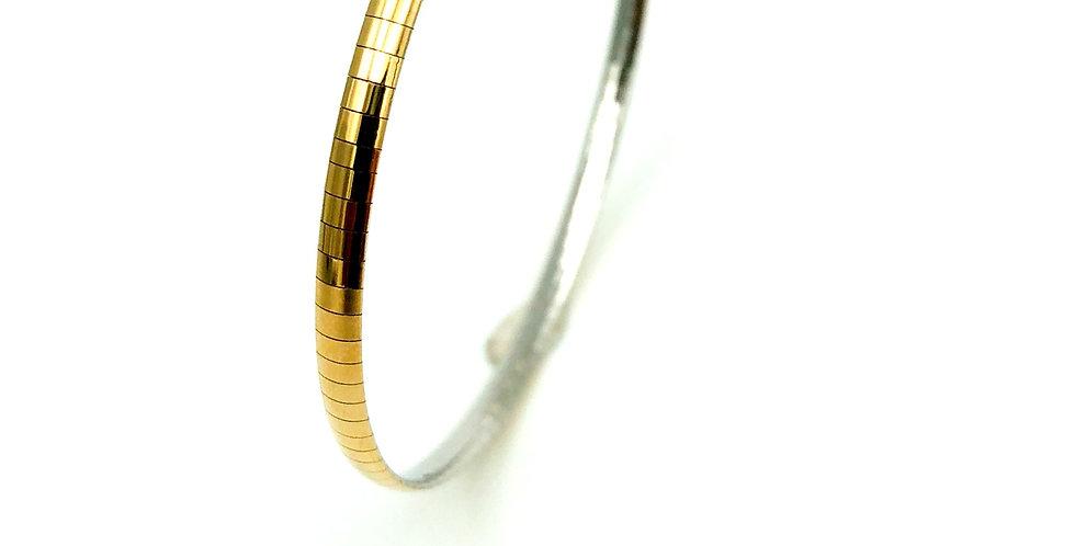 14 krt. Bicolor flexibel omega armband