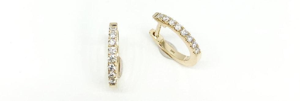 14 krt. Geelgouden oorringen met 2x8 briljant geslepen diamanten