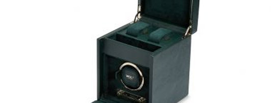 Watchwinder groen met goudkleur voor 1 horloge met opbergvak voor 2 horloges