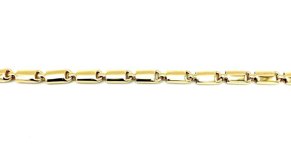 14 krt. Geelgouden armband bestaande uit halfbolle glanzende staafjes