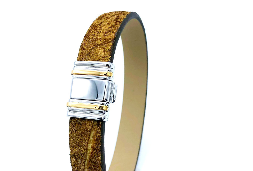 Albanu Armband van nijlpaardleer Limited Edition edelstaal/gouden slot