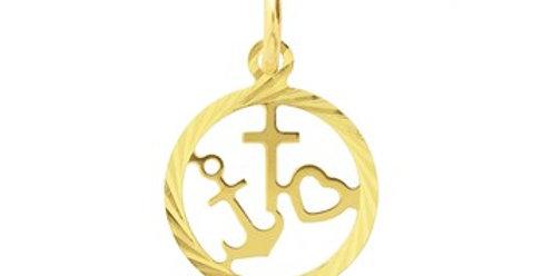 14 krt. Geelgouden hanger geloof, hoop en liefde
