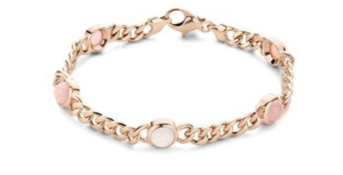 14 krt. Rosegouden armband met blauwe en roze chalcedone en roze opaal
