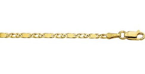 14 krt. Geelgouden valkoog/plaatjes armband