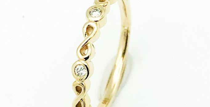 14 krt. Geelgouden ring infinity met briljant