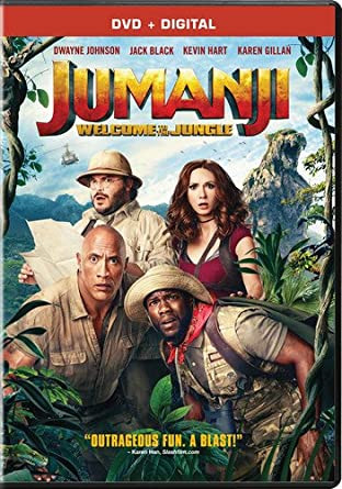 jumanji, dwayne johnson, the rock, jack black, kevin hart, karen gillan