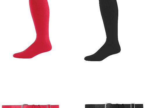 2 Belts & 2 Socks - Red & Black