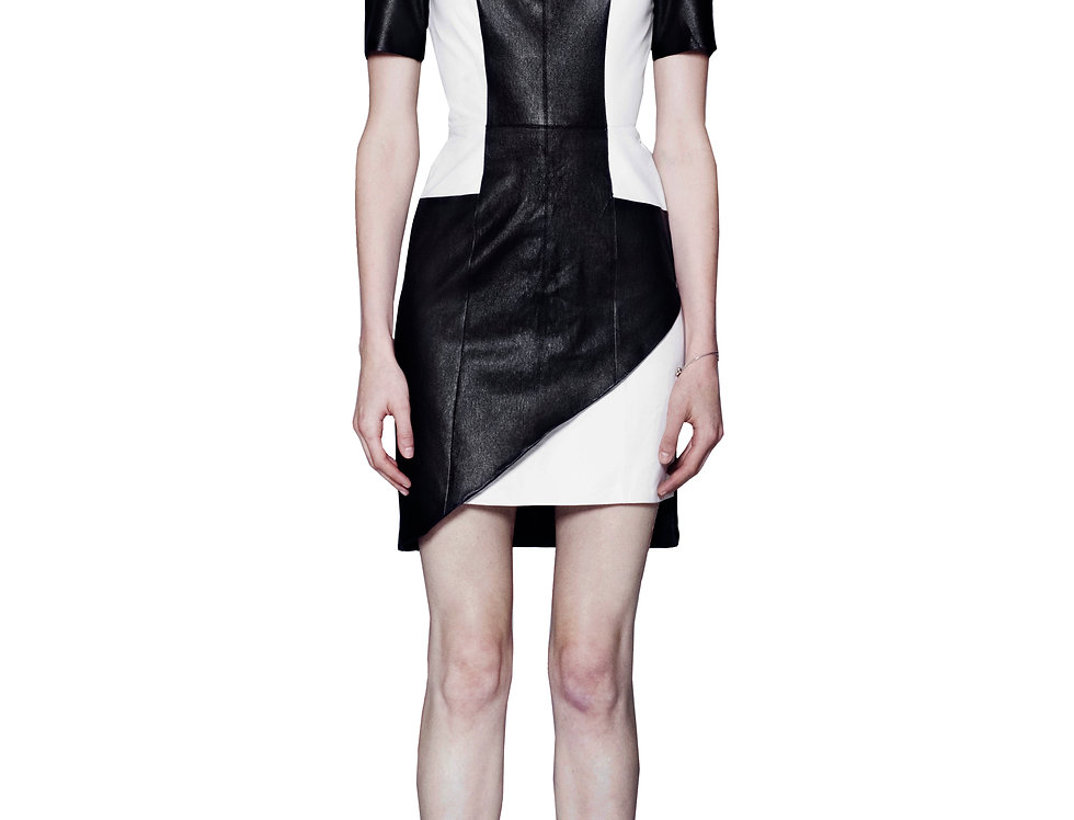 ASSYMETRICAL COLOR BLOCK LEATHER DRESS