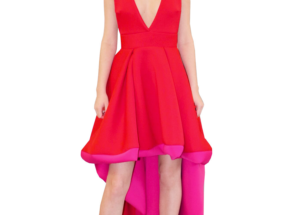 HIGH LOW RED + PINK HALTER DRESS