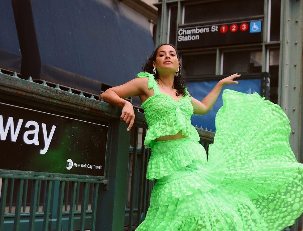 Lime Dotty dress