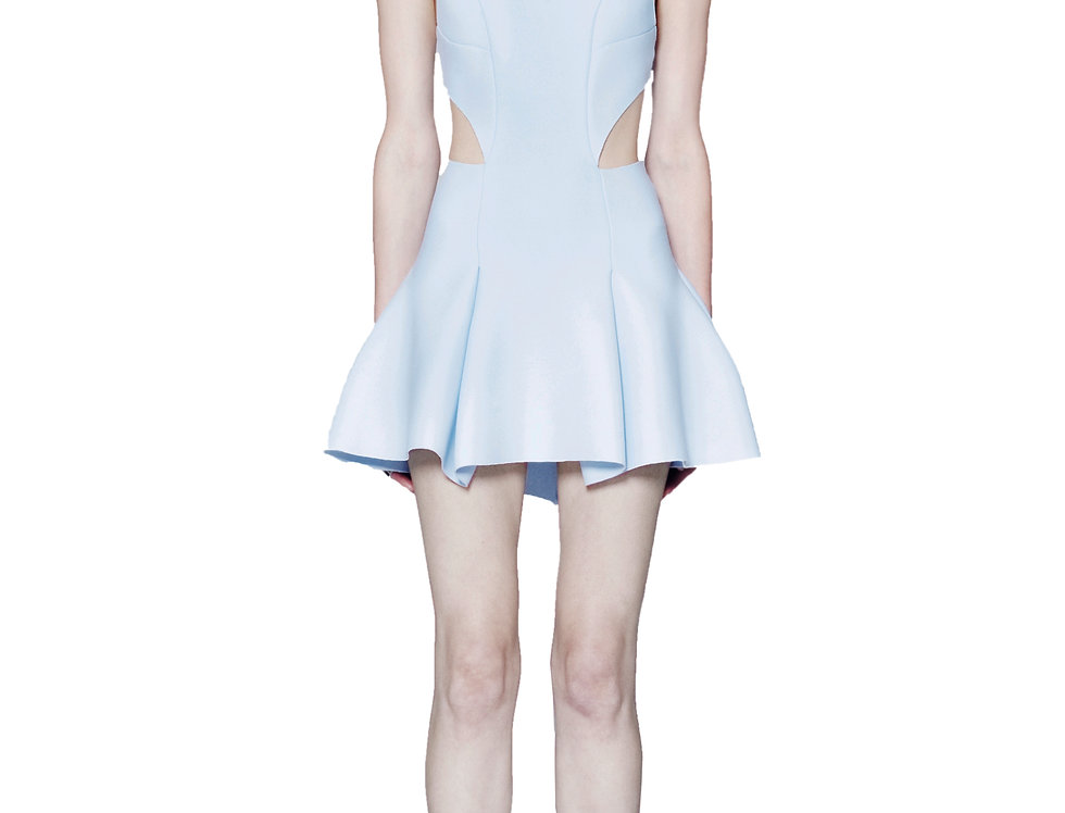 FIT AND FLARE DRESS W/ SIDE CUT OUTS