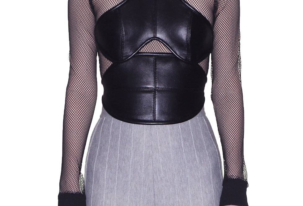 VEGAN LEATHER HARNESS TOP