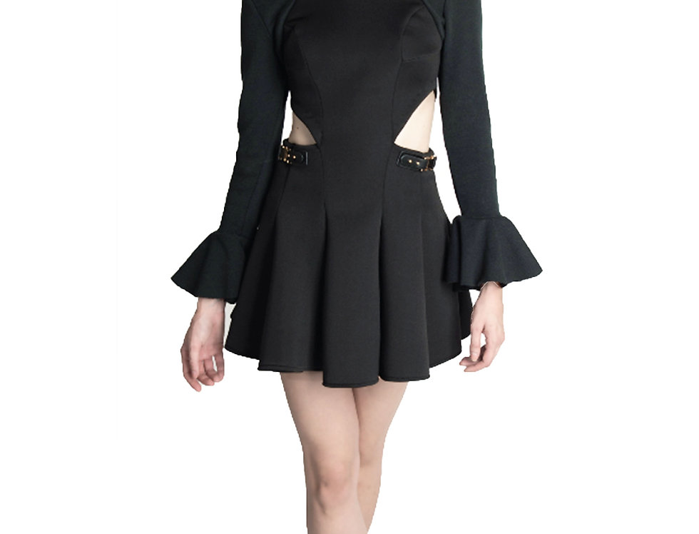 FIT AND FLARE SKATER DRESS W/ LONG TRUMPET SLEEVES