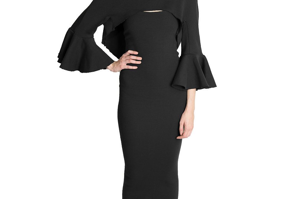 TURTLE NECK BOLERO W/ PEPLUM SLEEVES AND TUBE DRESS SET