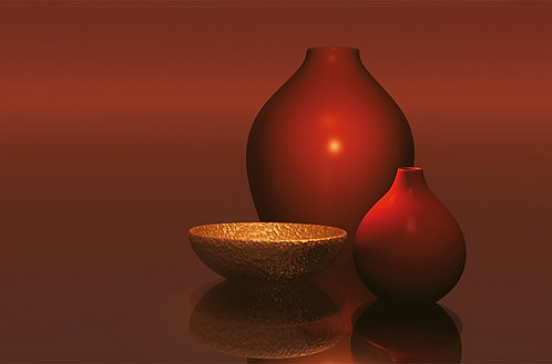 656 Red Vases with Bowl
