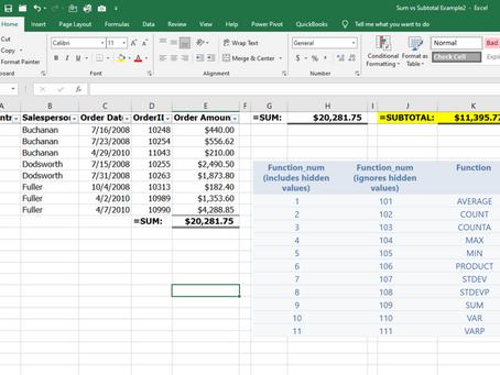 Excel =SUM vs =SUBTOTAL