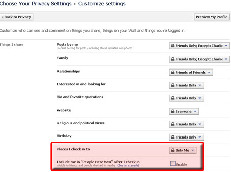 Facebook Places - Privacy settings that are not private
