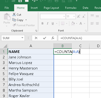 Excel Tip: COUNTA Function