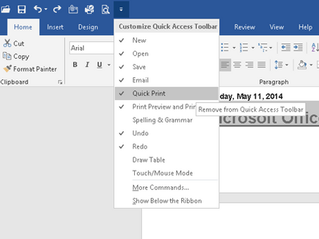 Microsoft Office Quick Access Toolbar