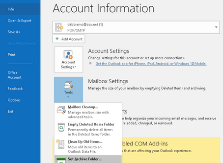 Outlook Archive Tip