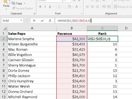 Excel Rank Formula