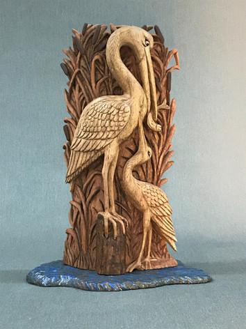 Heron and Fledgling by Lewis Waynick